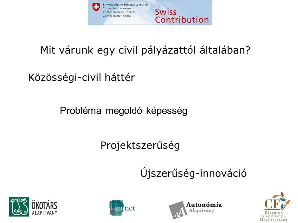 Közösségi-civil háttér Újszerűség-innováció Projektszerűség Mit várunk egy civil pályázattól általában.