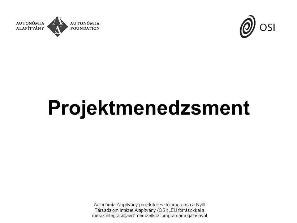 """szervezet és követelmények SZERVEZET szervezeti tagság saját szervezeti kultúra eddigi projekt- tapasztalatok KÖVETELMÉNYEK pályáztató által előírt megvalósításhoz szükséges belső/külső erőforrások PROJEKTSZERVEZET új emberek befogadása tevékenységek elosztása ha kell, új szervezeti keretek kialakítása Autonómia Alapítvány projektfejlesztő programja a Nyílt Társadalom Intézet Alapítvány (OSI) """"EU forrásokkal a romák integrációjáért nemzetközi programámogatásával"""