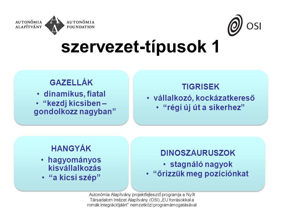 """szervezet-típusok 2 –informális (családi, baráti kör, az alkalmi """"projektek önkéntes bevállalásokon alapulnak) –formalizált szervezetek tágabb családi, baráti alapú projektre létrejött választott misszió mentén alakult professzionalizálódott technokrata lebonyolító Autonómia Alapítvány projektfejlesztő programja a Nyílt Társadalom Intézet Alapítvány (OSI) """"EU forrásokkal a romák integrációjáért nemzetközi programámogatásával"""