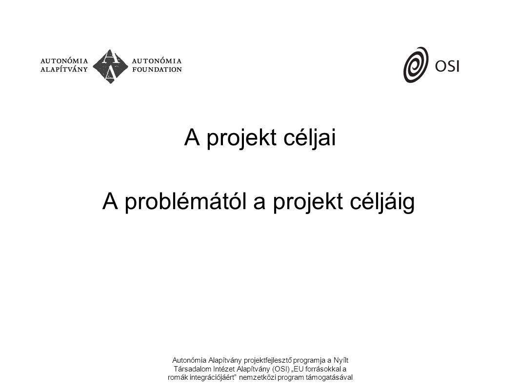 """Autonómia Alapítvány projektfejlesztő programja a Nyílt Társadalom Intézet Alapítvány (OSI) """"EU forrásokkal a romák integrációjáért nemzetközi program támogatásával A projekt céljai A problémától a projekt céljáig"""