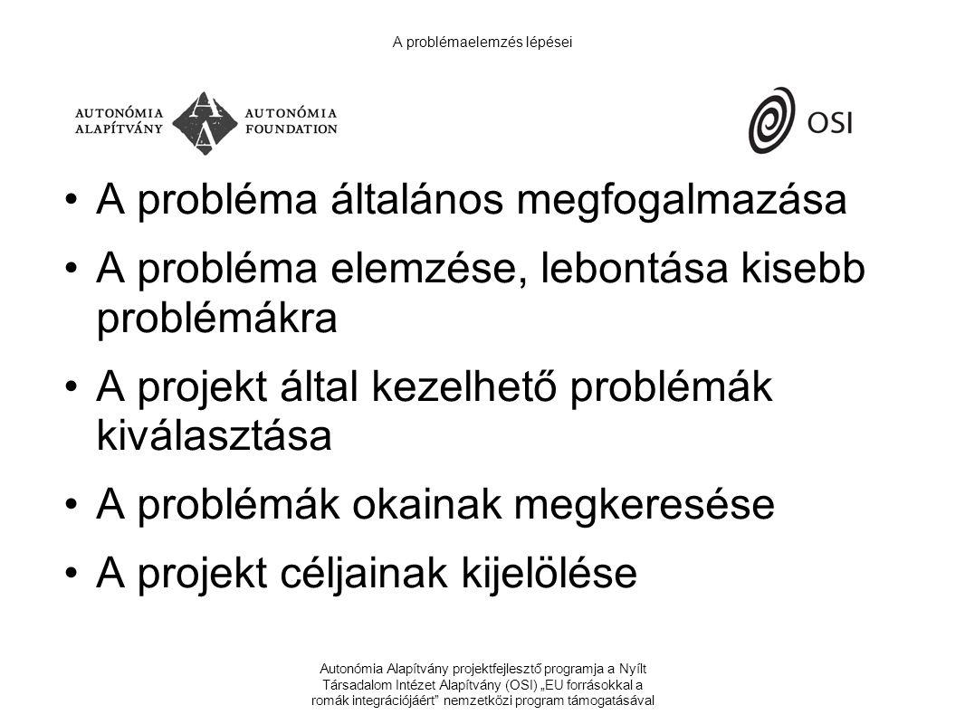 """Autonómia Alapítvány projektfejlesztő programja a Nyílt Társadalom Intézet Alapítvány (OSI) """"EU forrásokkal a romák integrációjáért nemzetközi program támogatásával A problémaelemzés lépései A probléma általános megfogalmazása A probléma elemzése, lebontása kisebb problémákra A projekt által kezelhető problémák kiválasztása A problémák okainak megkeresése A projekt céljainak kijelölése"""