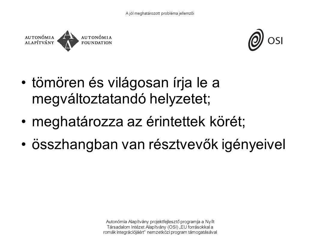 """Autonómia Alapítvány projektfejlesztő programja a Nyílt Társadalom Intézet Alapítvány (OSI) """"EU forrásokkal a romák integrációjáért nemzetközi program támogatásával A jól meghatározott probléma jellemzői tömören és világosan írja le a megváltoztatandó helyzetet; meghatározza az érintettek körét; összhangban van résztvevők igényeivel"""