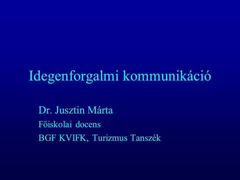 Idegenforgalmi kommunikáció Dr. Jusztin Márta Főiskolai docens BGF KVIFK, Turizmus Tanszék