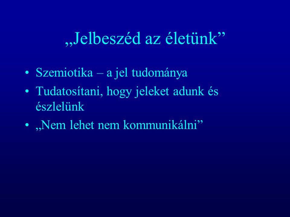 """""""Jelbeszéd az életünk"""" Szemiotika – a jel tudománya Tudatosítani, hogy jeleket adunk és észlelünk """"Nem lehet nem kommunikálni"""""""