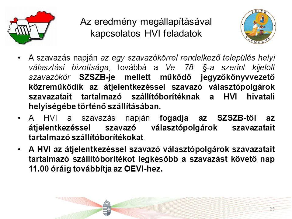 Az eredmény megállapításával kapcsolatos HVI feladatok A szavazás napján az egy szavazókörrel rendelkező település helyi választási bizottsága, továbbá a Ve.