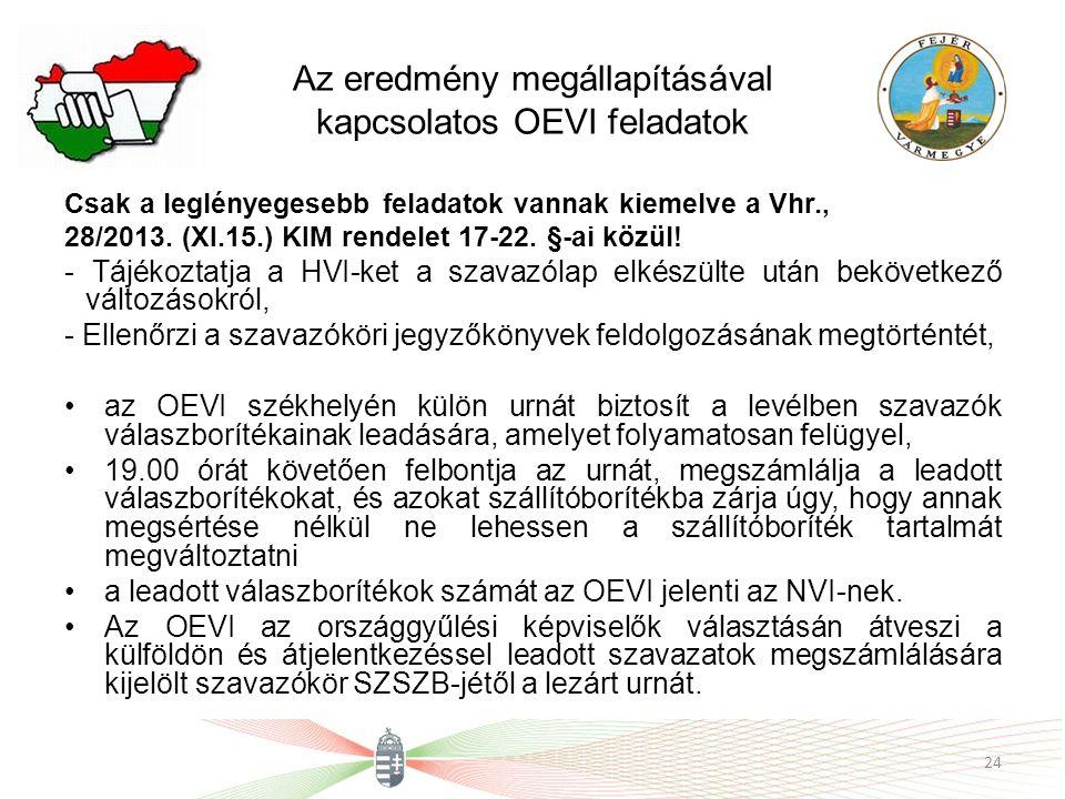 Az eredmény megállapításával kapcsolatos OEVI feladatok Csak a leglényegesebb feladatok vannak kiemelve a Vhr., 28/2013.