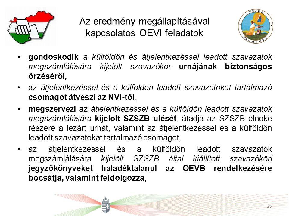 Az eredmény megállapításával kapcsolatos OEVI feladatok gondoskodik a külföldön és átjelentkezéssel leadott szavazatok megszámlálására kijelölt szavazókör urnájának biztonságos őrzéséről, az átjelentkezéssel és a külföldön leadott szavazatokat tartalmazó csomagot átveszi az NVI-től, megszervezi az átjelentkezéssel és a külföldön leadott szavazatok megszámlálására kijelölt SZSZB ülését, átadja az SZSZB elnöke részére a lezárt urnát, valamint az átjelentkezéssel és a külföldön leadott szavazatokat tartalmazó csomagot, az átjelentkezéssel és a külföldön leadott szavazatok megszámlálására kijelölt SZSZB által kiállított szavazóköri jegyzőkönyveket haladéktalanul az OEVB rendelkezésére bocsátja, valamint feldolgozza, 26