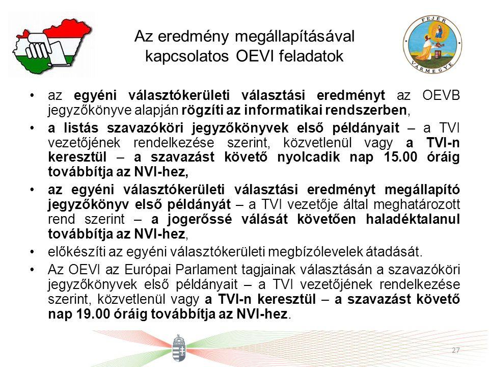 Az eredmény megállapításával kapcsolatos OEVI feladatok az egyéni választókerületi választási eredményt az OEVB jegyzőkönyve alapján rögzíti az informatikai rendszerben, a listás szavazóköri jegyzőkönyvek első példányait – a TVI vezetőjének rendelkezése szerint, közvetlenül vagy a TVI-n keresztül – a szavazást követő nyolcadik nap 15.00 óráig továbbítja az NVI-hez, az egyéni választókerületi választási eredményt megállapító jegyzőkönyv első példányát – a TVI vezetője által meghatározott rend szerint – a jogerőssé válását követően haladéktalanul továbbítja az NVI-hez, előkészíti az egyéni választókerületi megbízólevelek átadását.