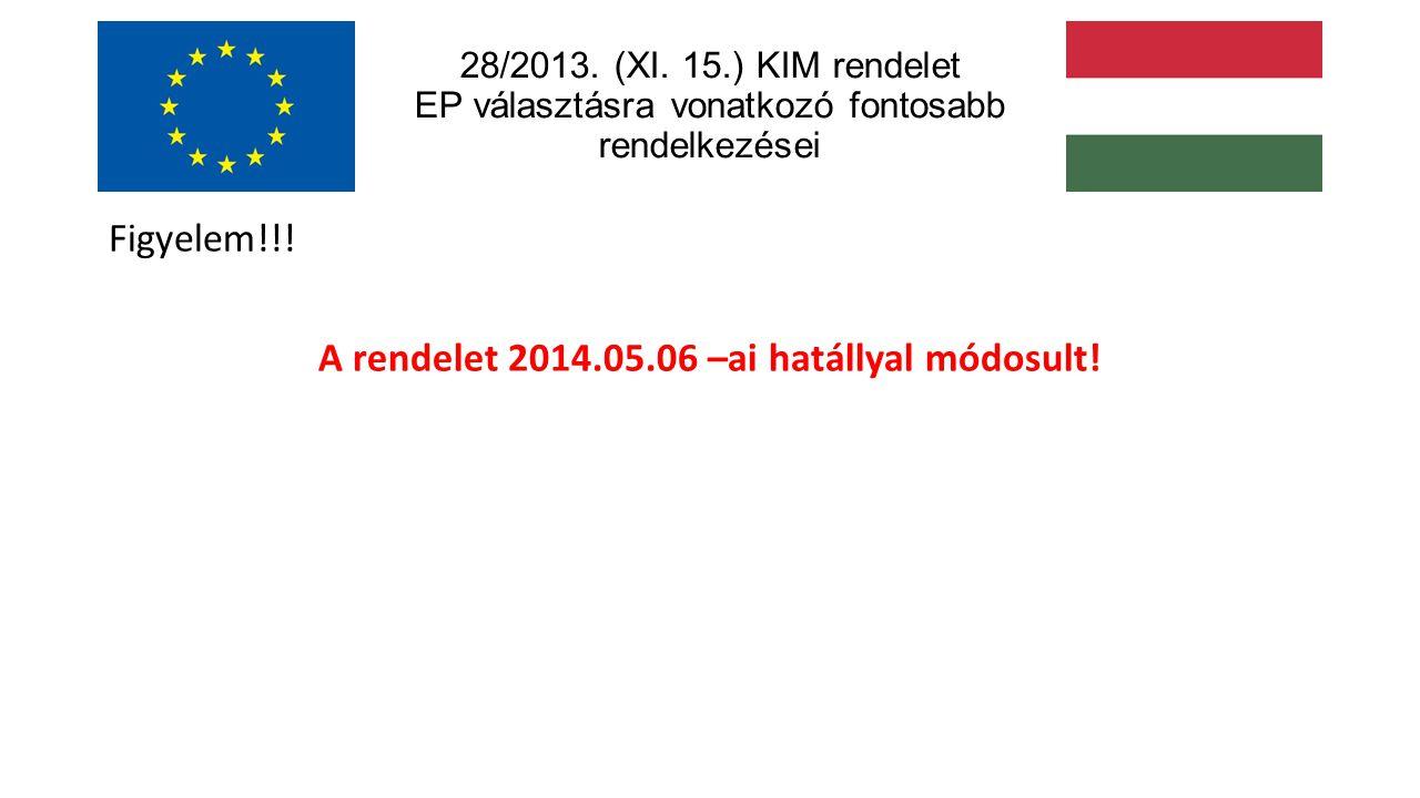 28/2013. (XI. 15.) KIM rendelet EP választásra vonatkozó fontosabb rendelkezései Figyelem!!.