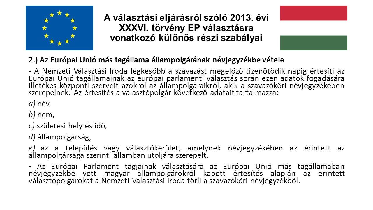 A választási eljárásról szóló 2013. évi XXXVI.