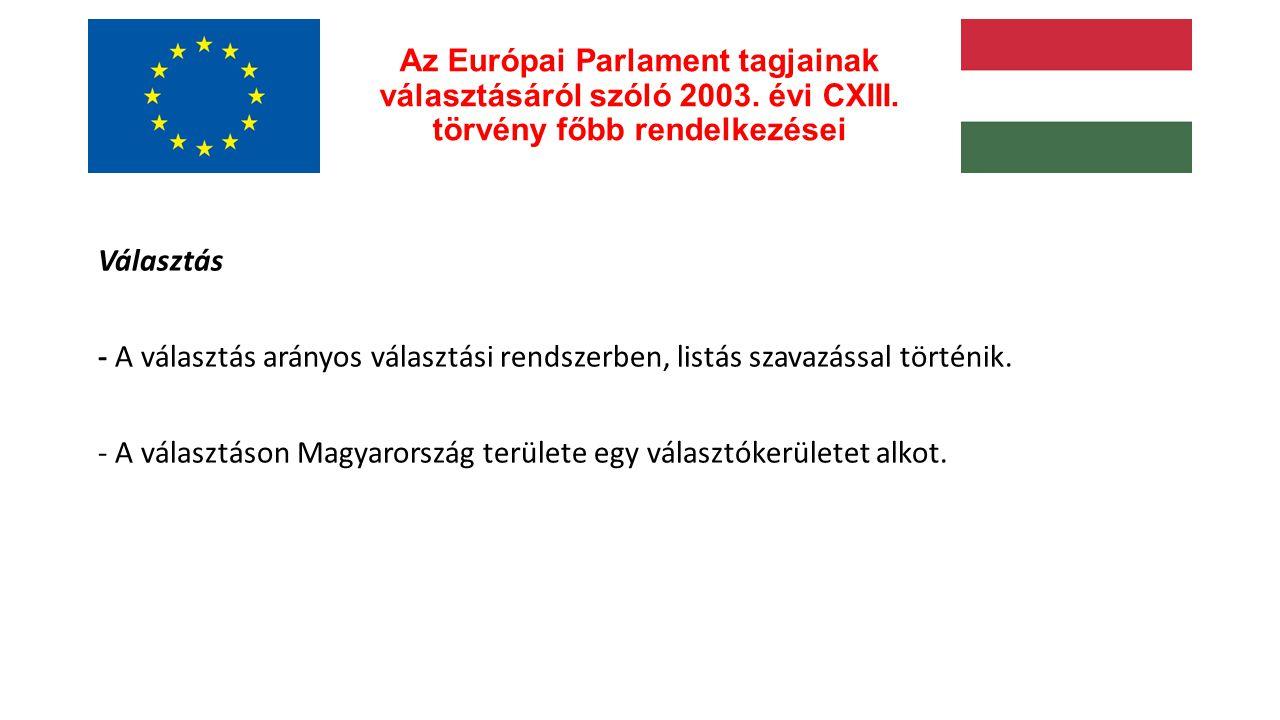 Az Európai Parlament tagjainak választásáról szóló 2003.