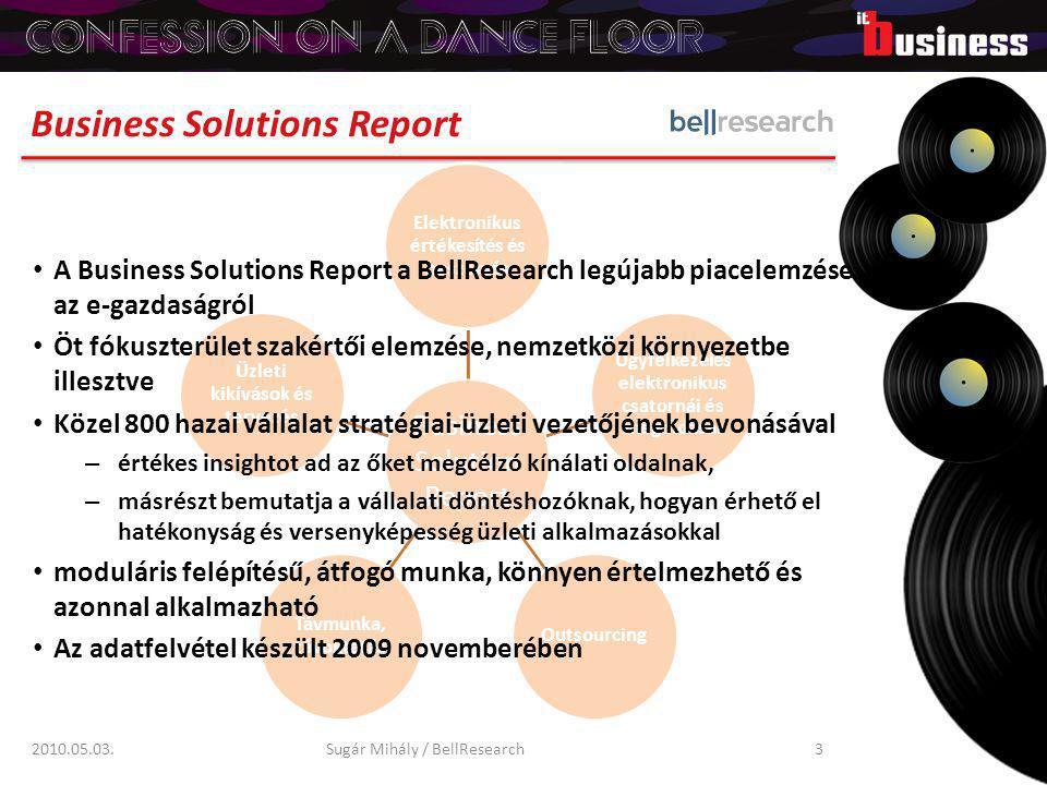 Business Solutions Report 2010.05.03.Sugár Mihály / BellResearch3 A Business Solutions Report a BellResearch legújabb piacelemzése az e-gazdaságról Öt fókuszterület szakértői elemzése, nemzetközi környezetbe illesztve Közel 800 hazai vállalat stratégiai-üzleti vezetőjének bevonásával – értékes insightot ad az őket megcélzó kínálati oldalnak, – másrészt bemutatja a vállalati döntéshozóknak, hogyan érhető el hatékonyság és versenyképesség üzleti alkalmazásokkal moduláris felépítésű, átfogó munka, könnyen értelmezhető és azonnal alkalmazható Az adatfelvétel készült 2009 novemberében