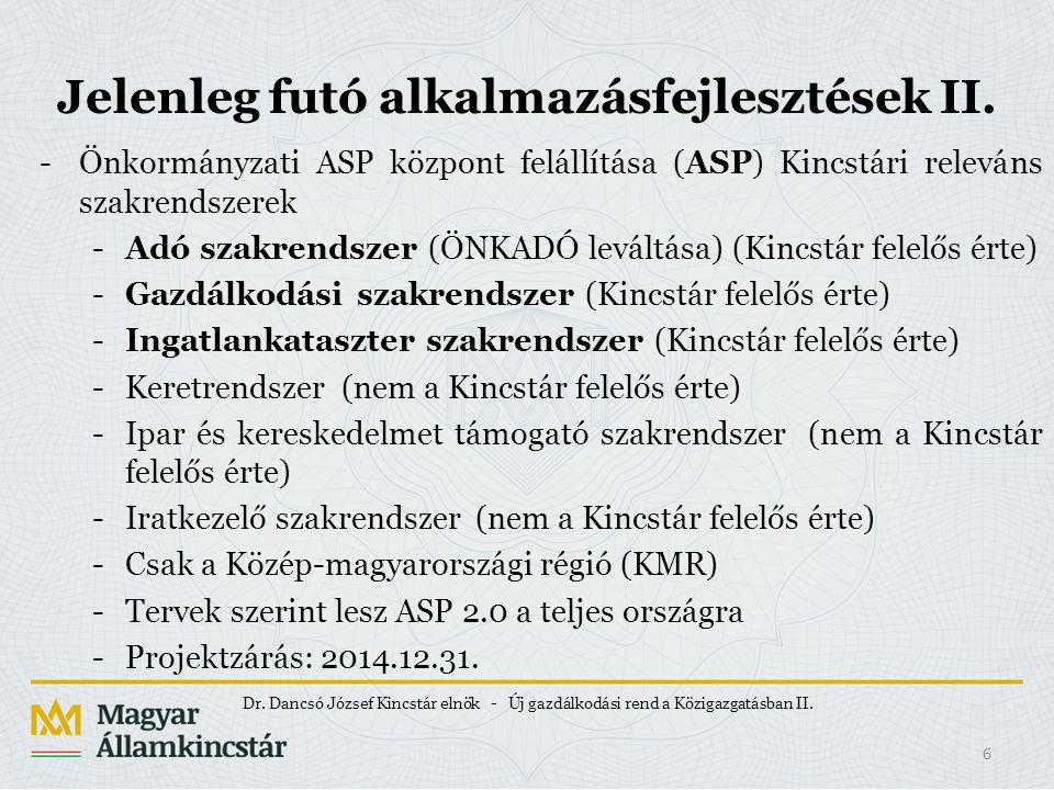 Jelenleg futó alkalmazásfejlesztések II. -Önkormányzati ASP központ felállítása (ASP) Kincstári releváns szakrendszerek -Adó szakrendszer (ÖNKADÓ levá