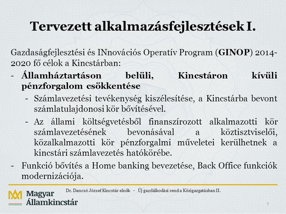 Tervezett alkalmazásfejlesztések I. Gazdaságfejlesztési és INnovációs Operatív Program (GINOP) 2014- 2020 fő célok a Kincstárban: -Államháztartáson be