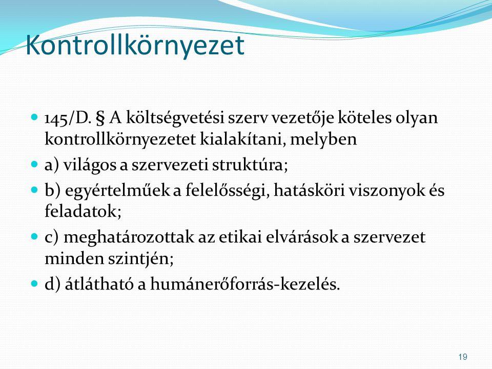 Kontrollkörnyezet 145/D. § A költségvetési szerv vezetője köteles olyan kontrollkörnyezetet kialakítani, melyben a) világos a szervezeti struktúra; b)