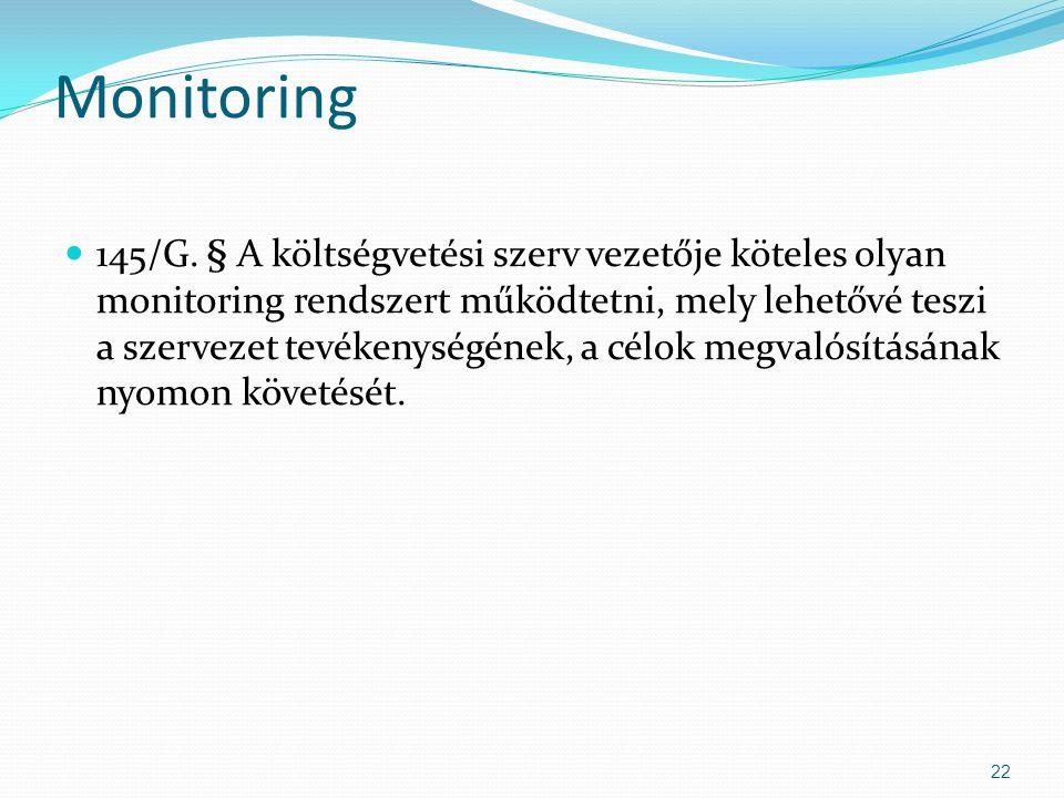 Monitoring 145/G. § A költségvetési szerv vezetője köteles olyan monitoring rendszert működtetni, mely lehetővé teszi a szervezet tevékenységének, a c
