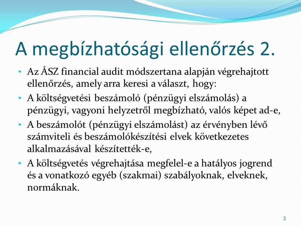 A megbízhatósági ellenőrzés 2. Az ÁSZ financial audit módszertana alapján végrehajtott ellenőrzés, amely arra keresi a választ, hogy: A költségvetési