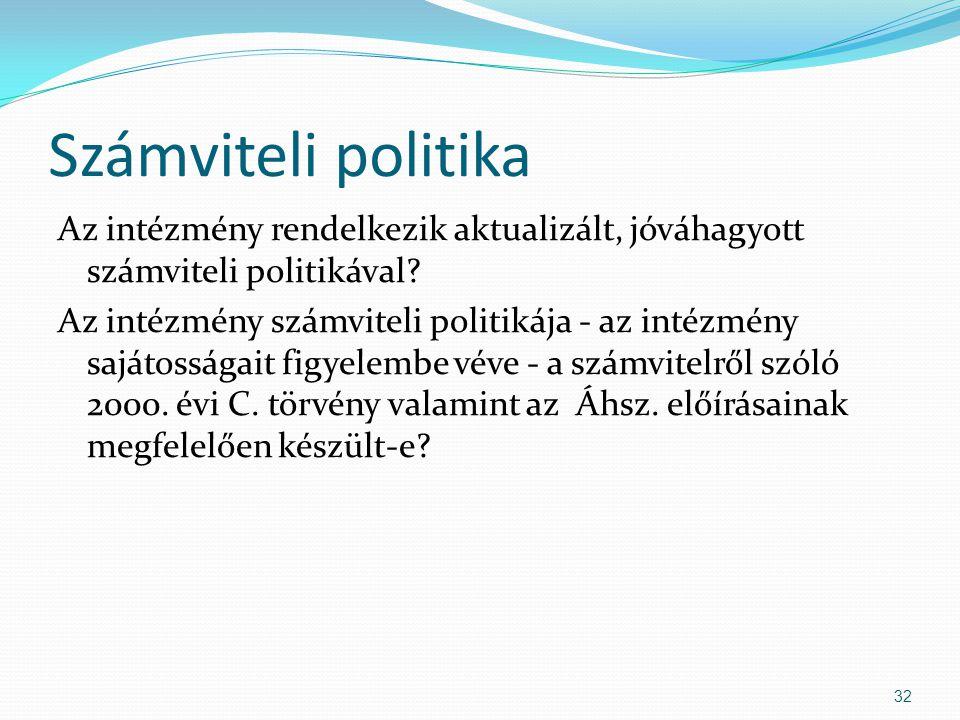 Számviteli politika Az intézmény rendelkezik aktualizált, jóváhagyott számviteli politikával? Az intézmény számviteli politikája - az intézmény sajáto