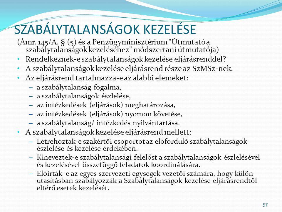 SZABÁLYTALANSÁGOK KEZELÉSE (Ámr. 145/A. § (5) és a Pénzügyminisztérium