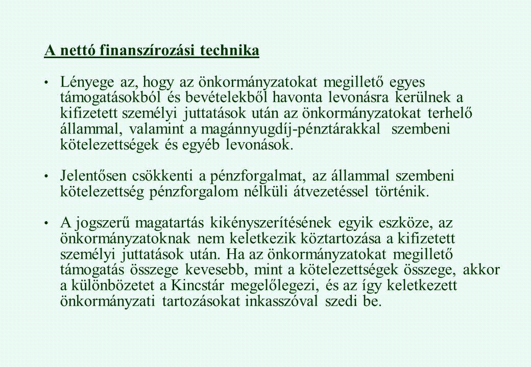 A nettó finanszírozási technika Lényege az, hogy az önkormányzatokat megillető egyes támogatásokból és bevételekből havonta levonásra kerülnek a kifiz