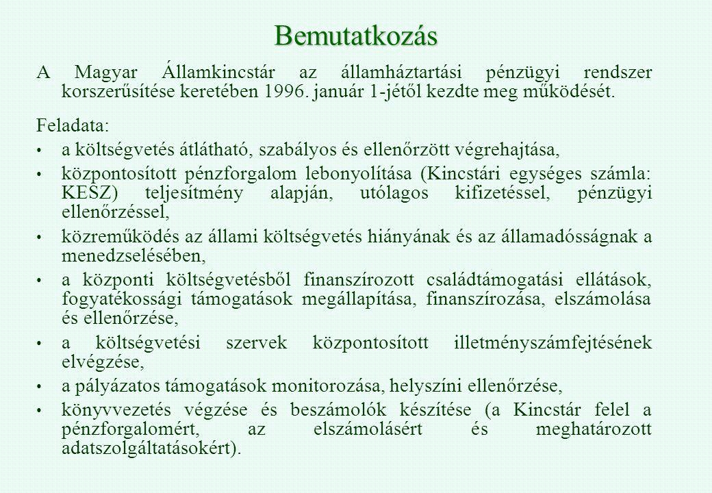 Bemutatkozás A Magyar Államkincstár az államháztartási pénzügyi rendszer korszerűsítése keretében 1996. január 1-jétől kezdte meg működését. Feladata: