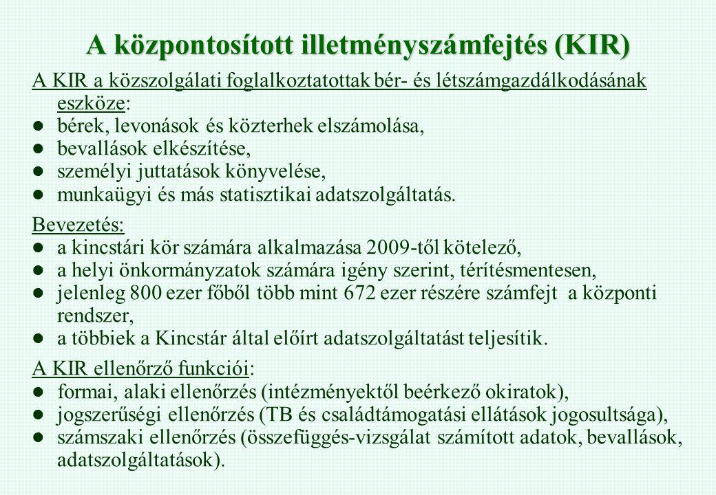A központosított illetményszámfejtés (KIR) A KIR a közszolgálati foglalkoztatottak bér- és létszámgazdálkodásának eszköze: bérek, levonások és közterh