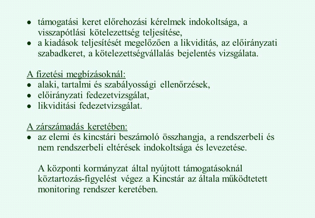 támogatási keret előrehozási kérelmek indokoltsága, a visszapótlási kötelezettség teljesítése, a kiadások teljesítését megelőzően a likviditás, az elő