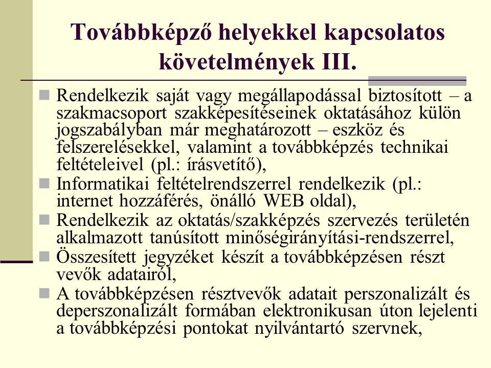 Továbbképző helyekkel kapcsolatos követelmények III. Rendelkezik saját vagy megállapodással biztosított – a szakmacsoport szakképesítéseinek oktatásáh