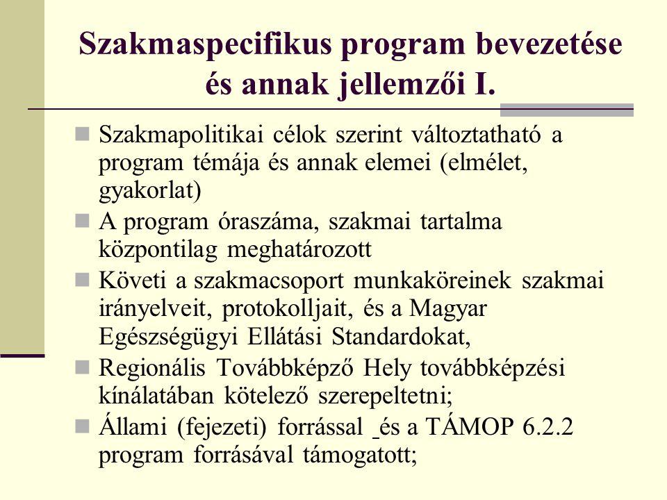 Szakmaspecifikus program bevezetése és annak jellemzői I. Szakmapolitikai célok szerint változtatható a program témája és annak elemei (elmélet, gyako