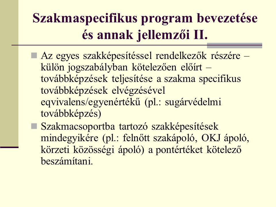 Szakmaspecifikus program bevezetése és annak jellemzői II. Az egyes szakképesítéssel rendelkezők részére – külön jogszabályban kötelezően előírt – tov