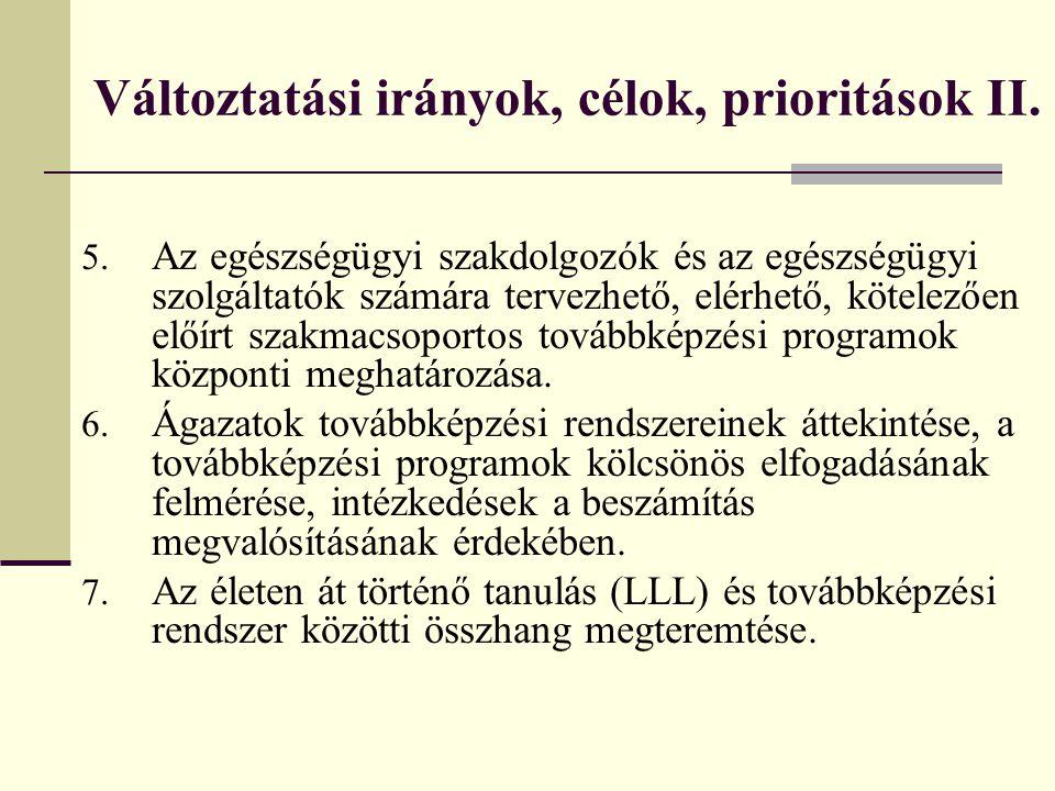 Változtatási irányok, célok, prioritások II. 5. Az egészségügyi szakdolgozók és az egészségügyi szolgáltatók számára tervezhető, elérhető, kötelezően