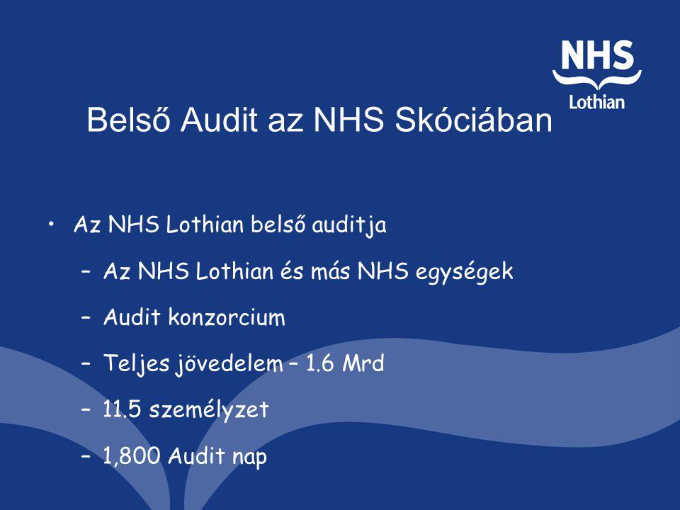 Belső Audit az NHS Skóciában Az NHS Lothian belső auditja –Az NHS Lothian és más NHS egységek –Audit konzorcium –Teljes jövedelem – 1.6 Mrd –11.5 személyzet –1,800 Audit nap