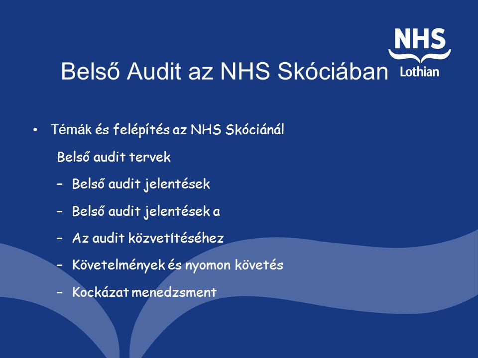 Belső Audit az NHS Skóciában Témák és felépítés az NHS Skóciánál Belső audit tervek –Belső audit jelentések –Belső audit jelentések a –Az audit közvet í téséhez –Követelmények és nyomon követés –Kockázat menedzsment