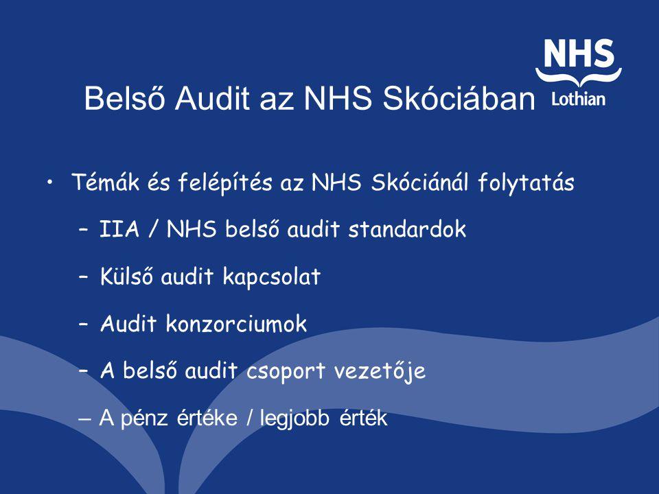 Belső Audit az NHS Skóciában Témák és felépítés az NHS Skóciánál folytatás –IIA / NHS belső audit standardok –Külső audit kapcsolat –Audit konzorciumok –A belső audit csoport vezetője –A pénz értéke / legjobb érték