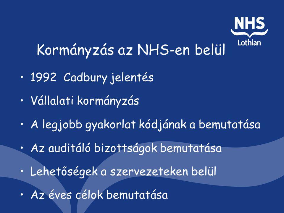 Kormányzás az NHS-en belül 1992 Cadbury jelentés Vállalati kormányzás A legjobb gyakorlat kódjának a bemutatása Az auditáló bizottságok bemutatása Lehetőségek a szervezeteken belül Az éves célok bemutatása