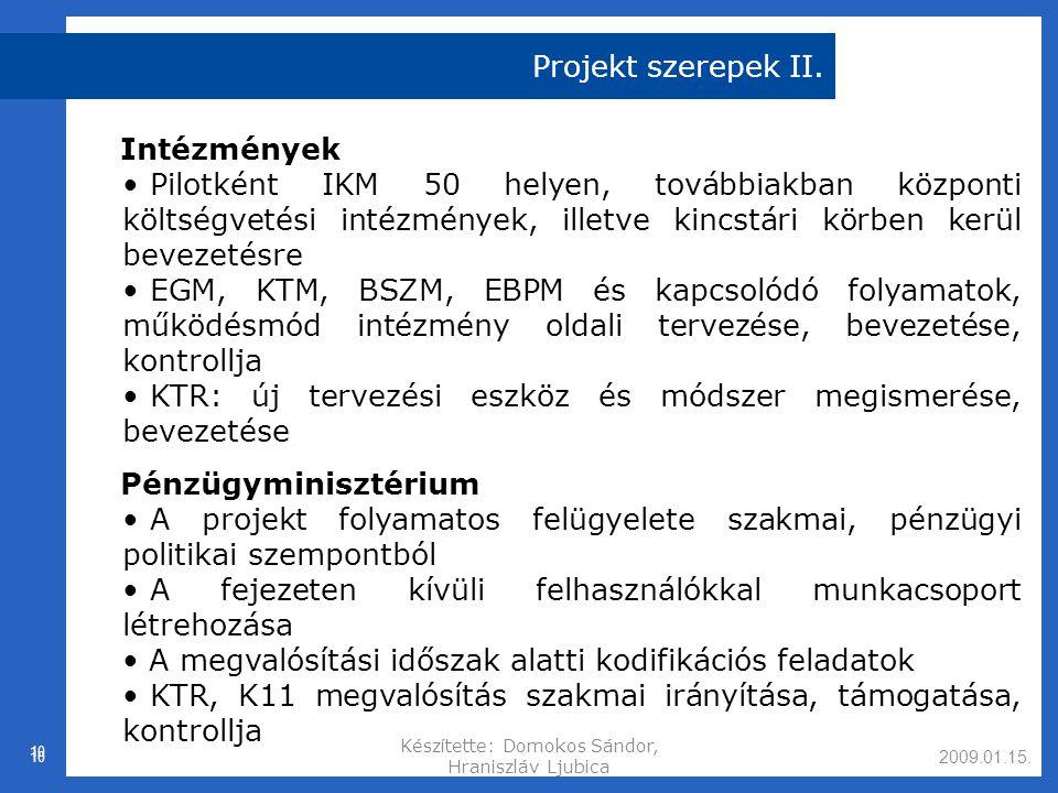 2009.01.15.Készítette: Domokos Sándor, Hraniszláv Ljubica 10 Projekt szerepek II.