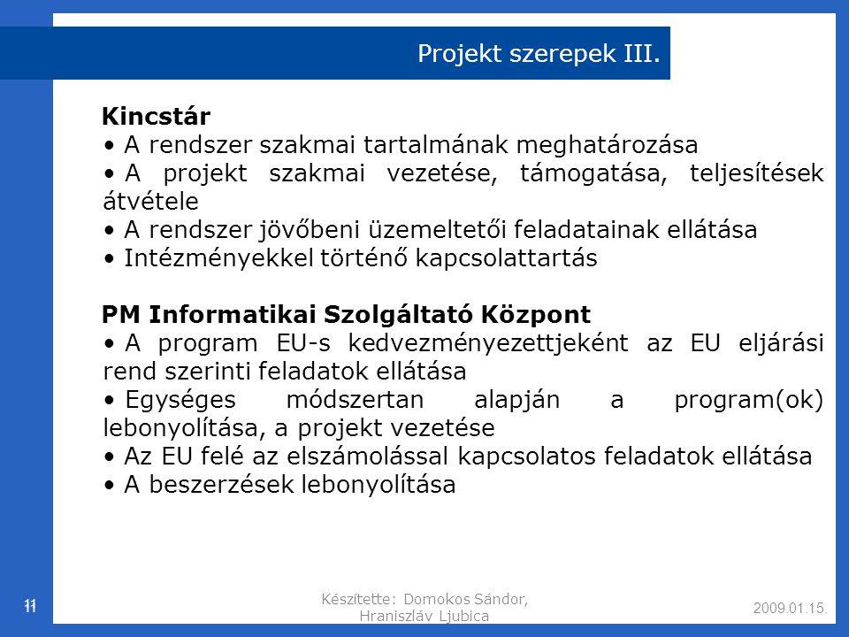 2009.01.15.Készítette: Domokos Sándor, Hraniszláv Ljubica 11 Projekt szerepek III.