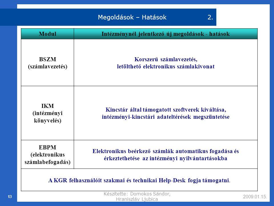 2009.01.15.Készítette: Domokos Sándor, Hraniszláv Ljubica 13 Megoldások – Hatások2.
