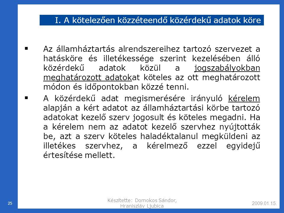 2009.01.15.Készítette: Domokos Sándor, Hraniszláv Ljubica 25 I.