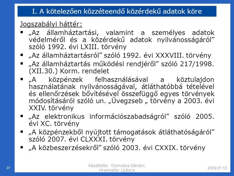 2009.01.15.Készítette: Domokos Sándor, Hraniszláv Ljubica 27 I.