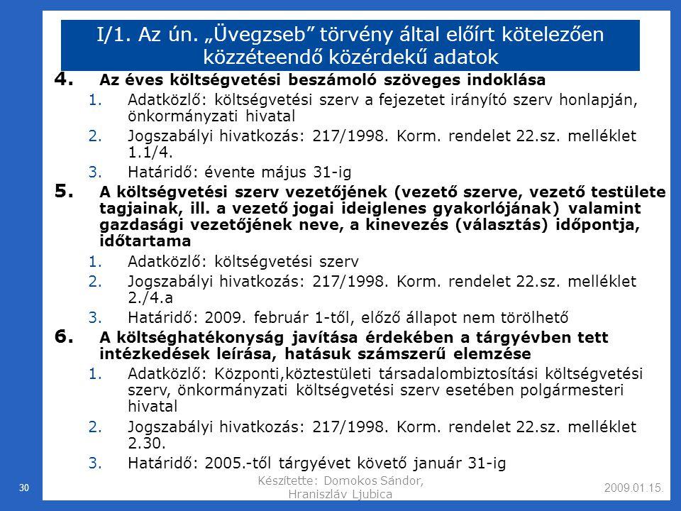 2009.01.15.Készítette: Domokos Sándor, Hraniszláv Ljubica 30 I/1.