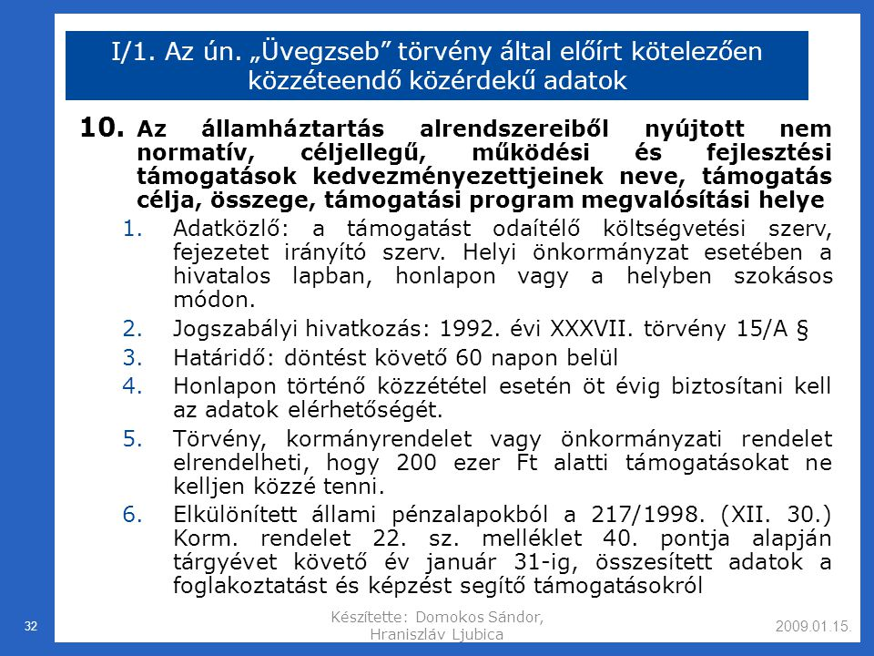 2009.01.15.Készítette: Domokos Sándor, Hraniszláv Ljubica 32 I/1.