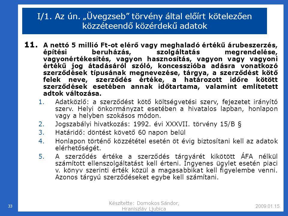 2009.01.15.Készítette: Domokos Sándor, Hraniszláv Ljubica 33 I/1.