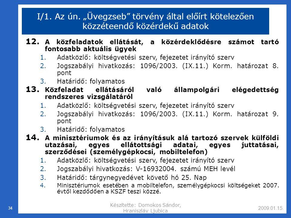 2009.01.15.Készítette: Domokos Sándor, Hraniszláv Ljubica 34 I/1.