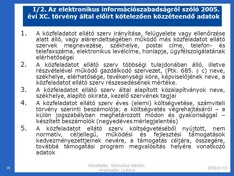 2009.01.15.Készítette: Domokos Sándor, Hraniszláv Ljubica 35 I/2.