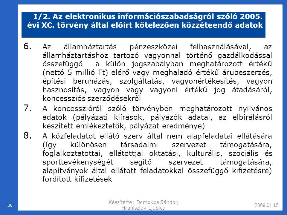 2009.01.15.Készítette: Domokos Sándor, Hraniszláv Ljubica 36 I/2.