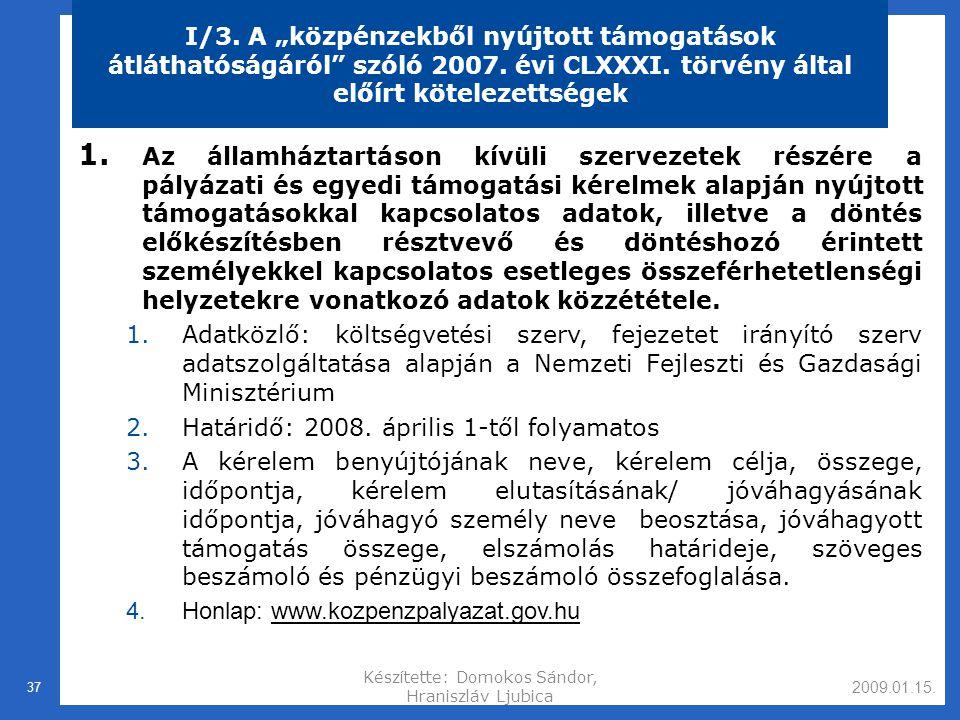 2009.01.15.Készítette: Domokos Sándor, Hraniszláv Ljubica 37 I/3.
