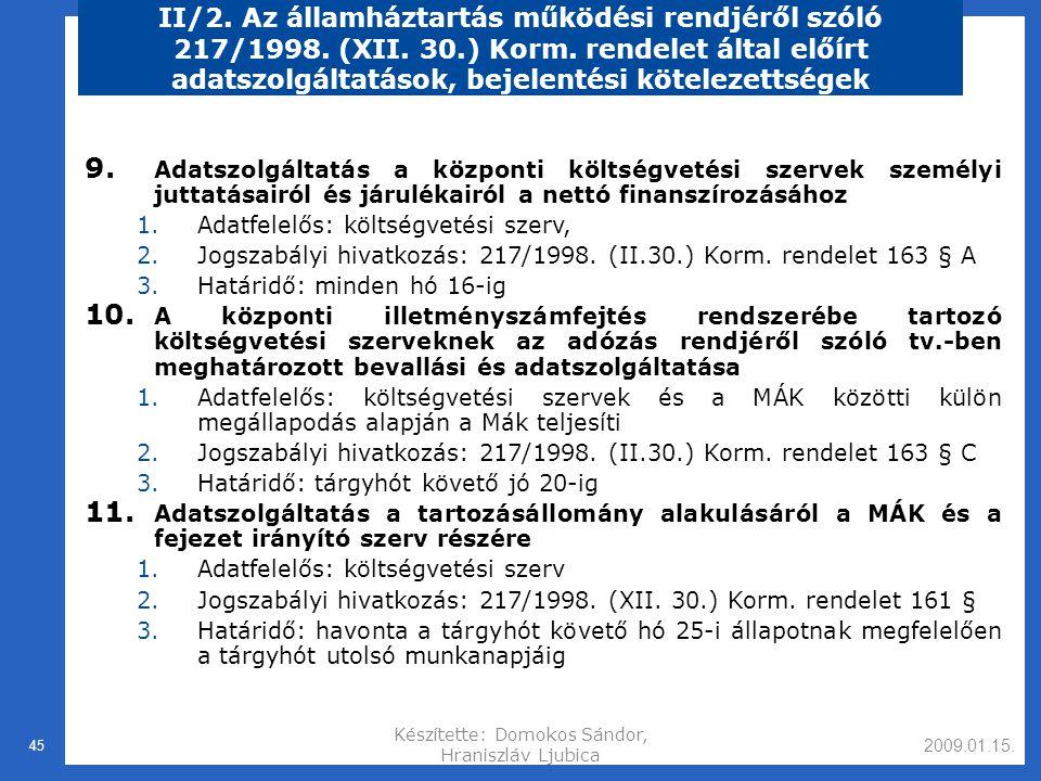 2009.01.15.Készítette: Domokos Sándor, Hraniszláv Ljubica 45 II/2.