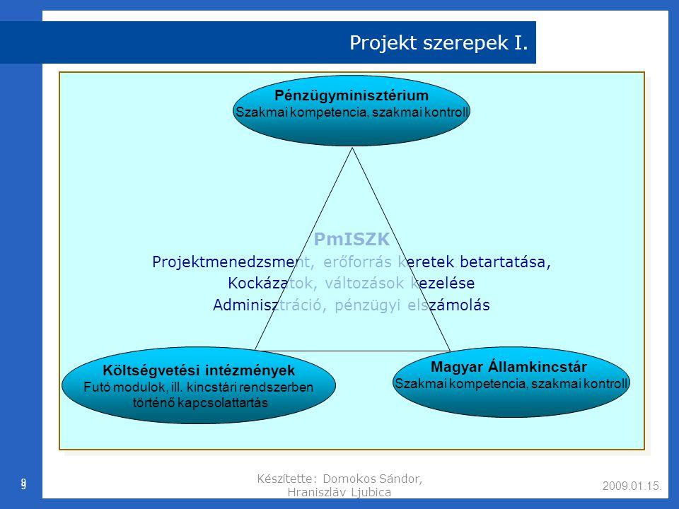 2009.01.15.Készítette: Domokos Sándor, Hraniszláv Ljubica 9 Projekt szerepek I.