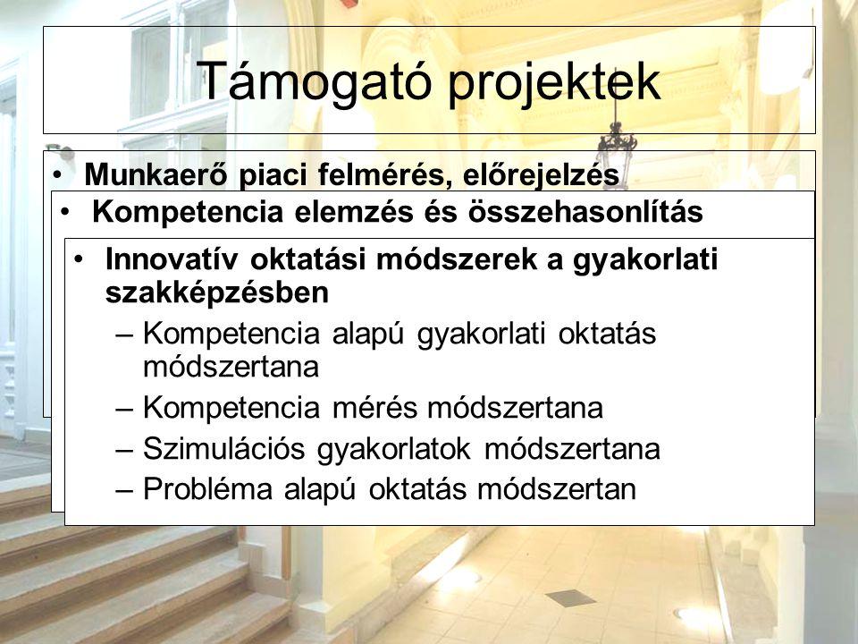 Támogató projektek Munkaerő piaci felmérés, előrejelzés – az egészségügyi szakdolgozók munkaerő piaci helyzete megváltozott. –kompetencia és készség s